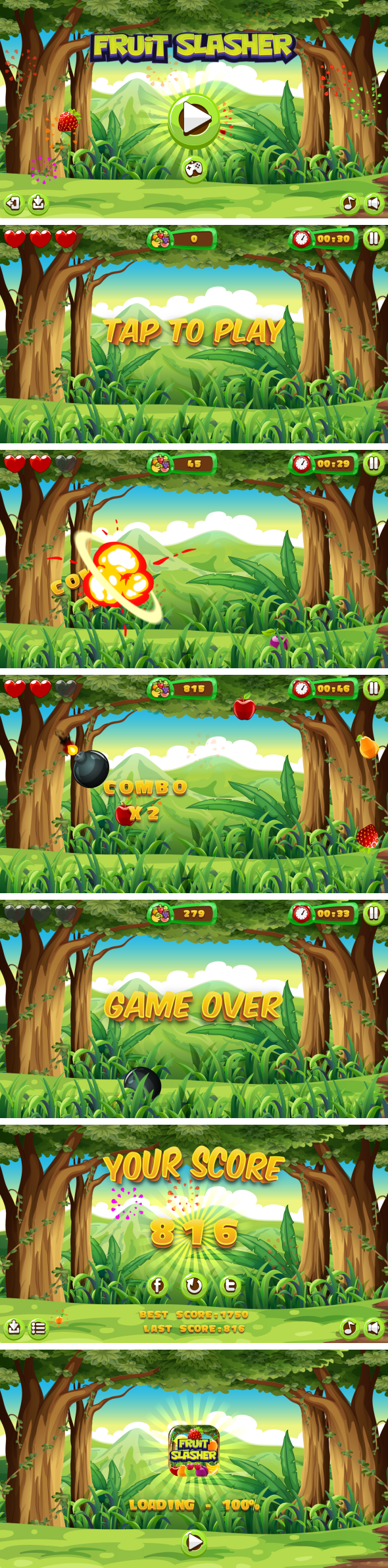 Fruit Slasher - HTML5 Game, Mobile Version+AdMob!!! (Construct 3   Construct 2   Capx) - 3