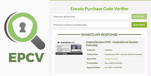 EPCV – Envato Purchase Code Verifier (PHP Scripts) images