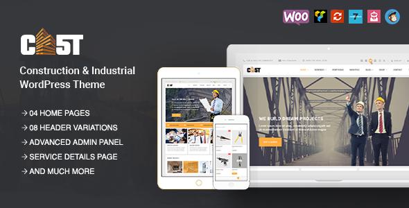 Фото Профессиональный шаблон Wordpress  CAST - Construction, Industrial & Building Responsive WordPress Theme — preview.  large preview