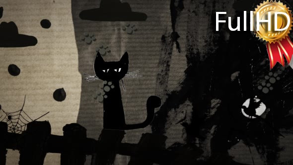 VideoHive Haloween at the Yard Black Cats Rain of Cat's 19591617