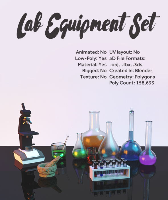 Laboratory Equipment Set - 3DOcean Item for Sale