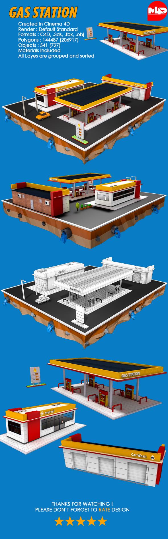 Gas Station (Market, Car Wash) - 3DOcean Item for Sale
