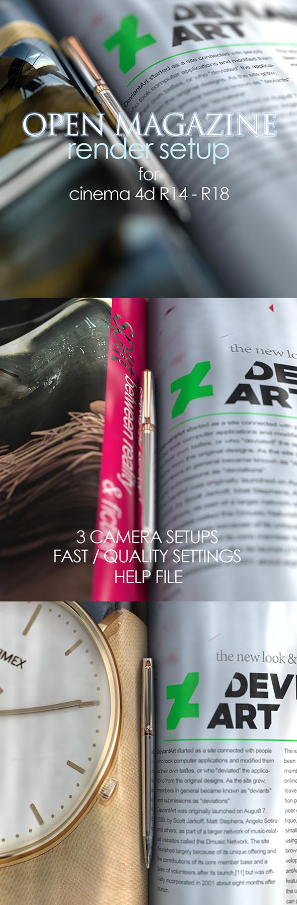 Open Magazine Render Setup - 3DOcean Item for Sale
