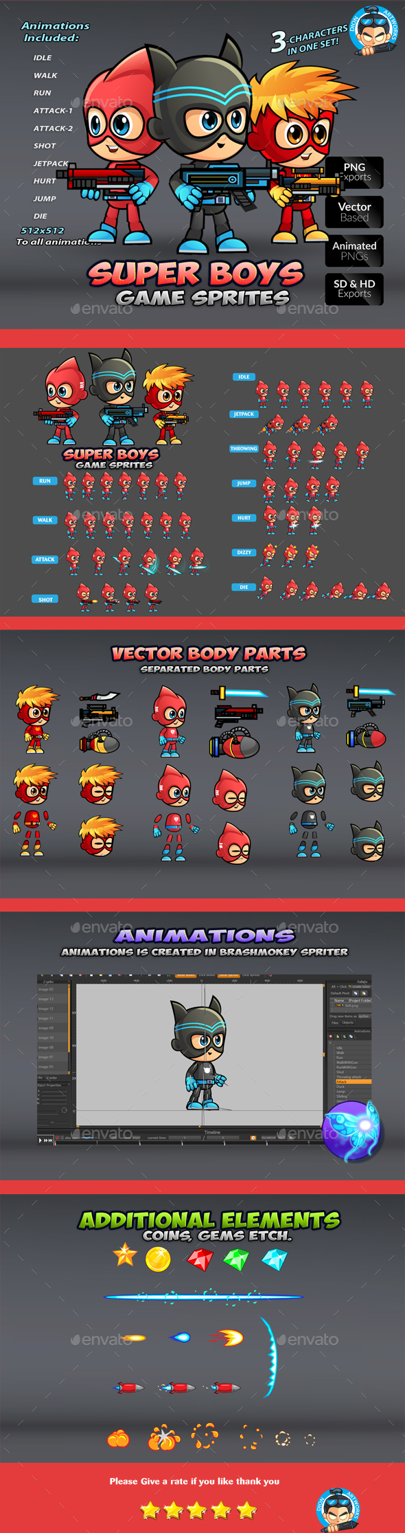 Super Boys Game Sprites (Sprites)