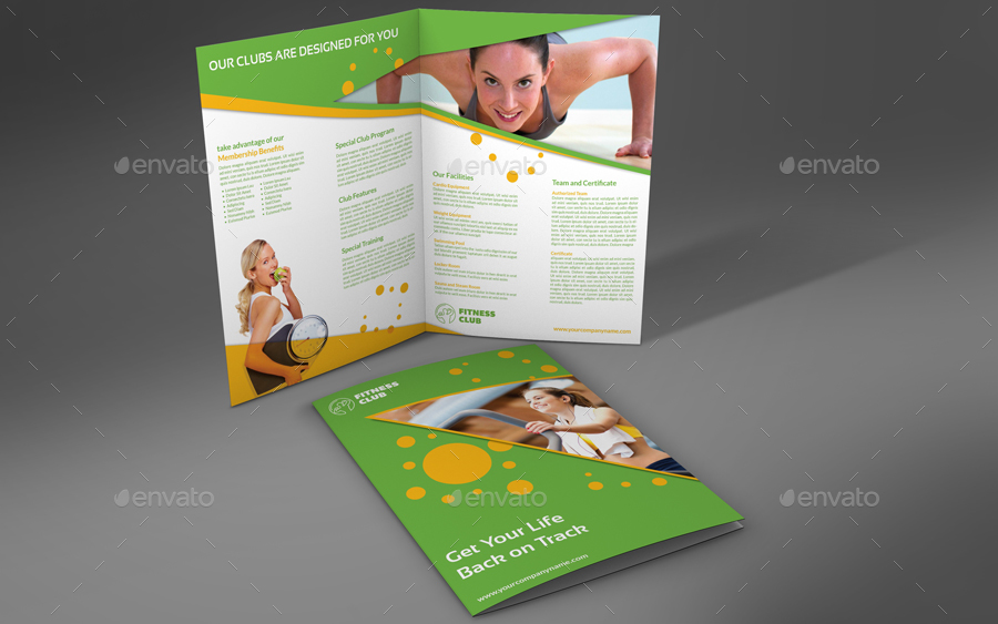 Fitness GYM BiFold Brochure Template by OWPictures – Gym Brochure Templates
