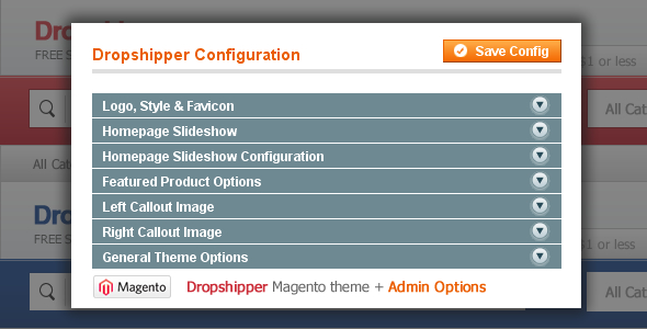 Dropshipper Magento Theme - Dropshipper Magento Theme Admin Options