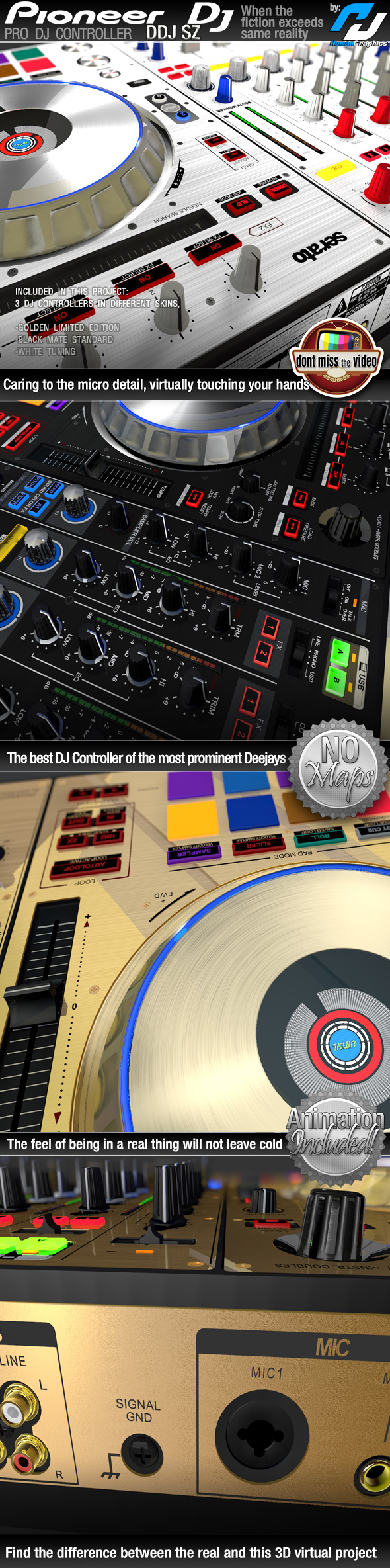 Realistic Pro DJ Controller Pioneer DDJ SZ, in 3 different skins - 3DOcean Item for Sale