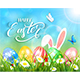 Happy Easter on Blue Background with Bunny and Eggs