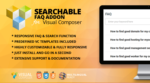Searchable FAQ Addon for Visual Composer