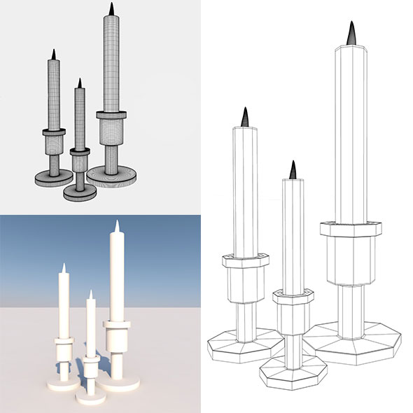 Low Poly Candle And Stand - 3DOcean Item for Sale
