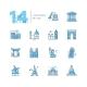 Landmarks - Coloured Modern Single Line Icons Set