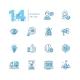 Business - Coloured Modern Single Line Icons Set