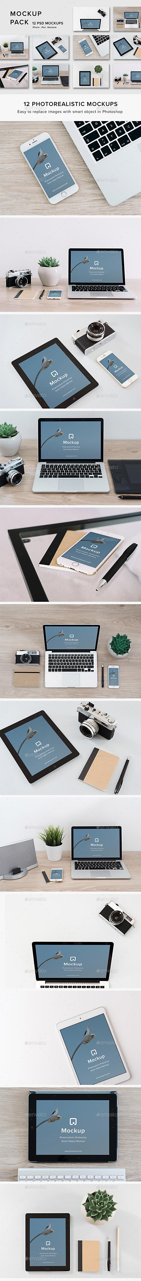 Mockup Pack 12 PSDs Photorealistic