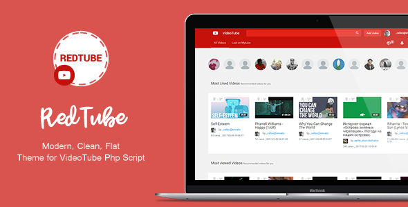 RedTube - VideoTube Video CMS Script Skin