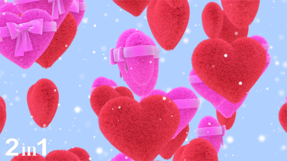 VideoHive Hearts Valentines Background 2-Pack 19600741