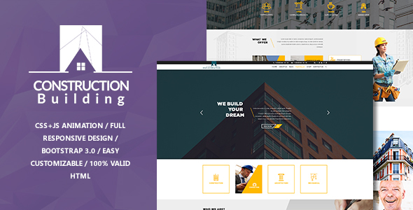 myConstruction - Bootstrap Landing Page HTML Template