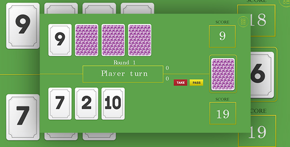 Download 21 - HTML5 card game. Construct 2 (.capx) + mobile control