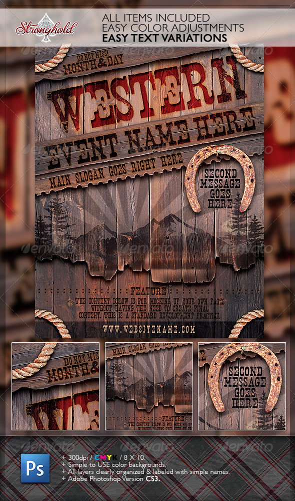 GraphicRiver Vintage Western Wood Flyer Template 1922346