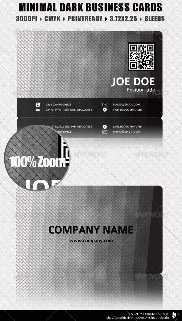 Minimal Dark Business Card - Corporate Business Cards