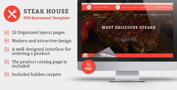 Steak House — PSD Template