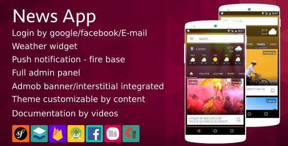 News App - (Material design + Firebase  Notification + Social login ...)