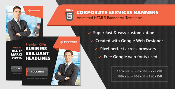 HTML5 Advertisements – Corporate Solutions Animated Banner Templates (GWD) (Ad Templates)