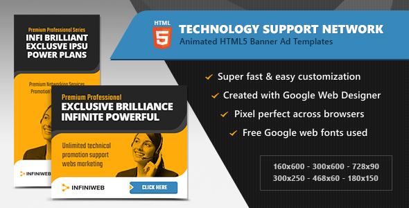 Download HTML5 Ads - Technology Support Network Banner Templates (GWD)