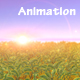 Meadow Field Animation at Sunset - ornamental Shrubs