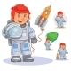 Vector Icon of Small Child Astronaut in a Space