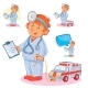 Set Vector Icons of Small Child Doctor and His Toy