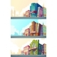 Set Vector Cartoon Illustration of an Urban