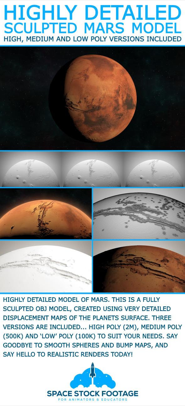 Mars - High Poly Sculpted Model - 3DOcean Item for Sale