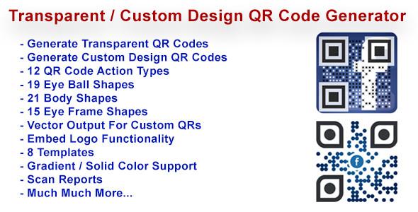 Transparent & Custom Design QR Code Generator (PHP Scripts) images