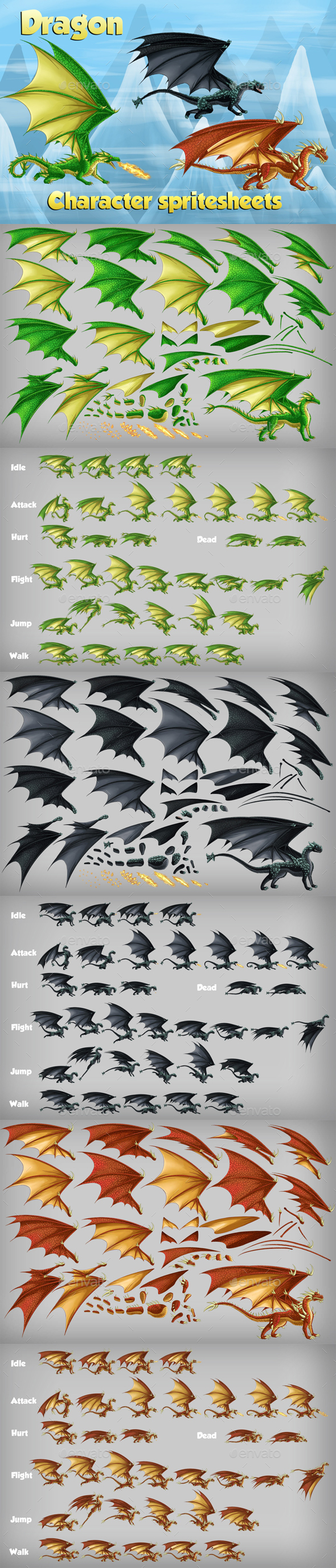 2D Game Dragon Character Spritesheet (Sprites)