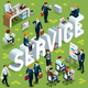 Service Isometric People 3D Set Vector Illustration