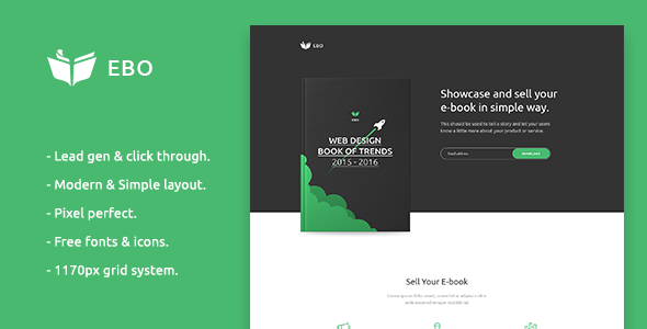 Ebo - Ebook Landing Page PSD Template