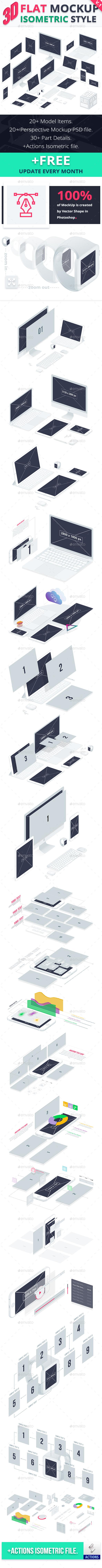 3D Flat Mockup Screen - Isometric