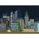 Modern Urban City Landscape Vector Flat Night