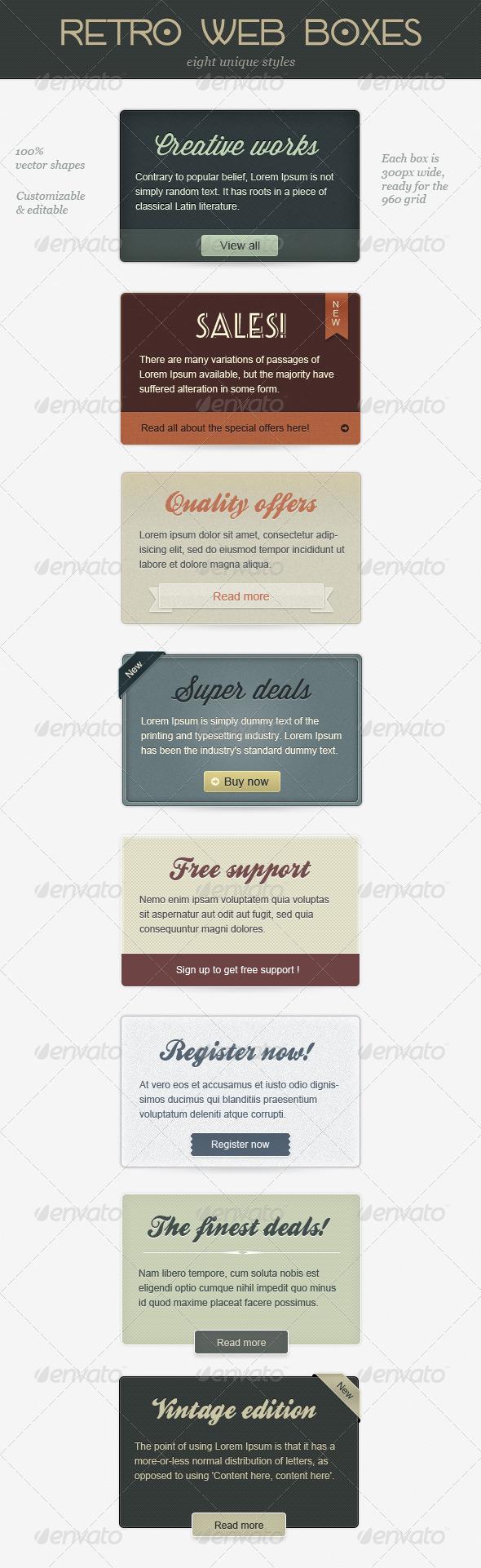 Retro Web Boxes - Banners & Ads Web Elements