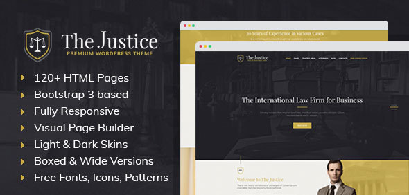 Download Justice - HTML template with Visual Page Builder for Advocate, Barrister, Attorney, Law Firm