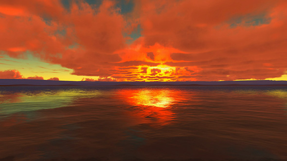 VideoHive Cloudy Sunset At Ocean 19612750