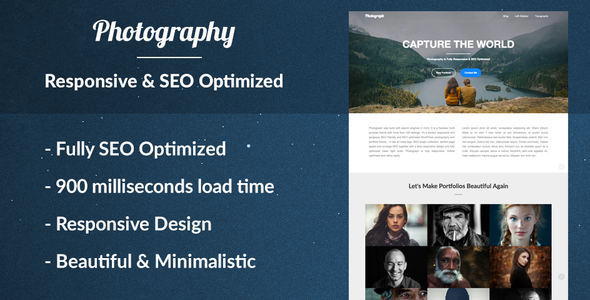 Photograph the Responsive Photography Portfolio WordPress Theme for Photographers - SEO Optimized
