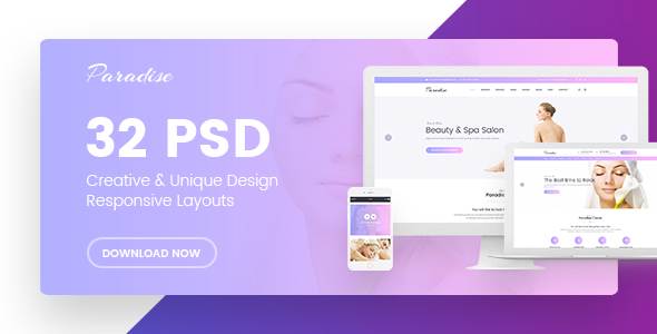 Paradise | Multipurpose Beauty & Spa, HairCut, Nail, Tattoo Psd Templates