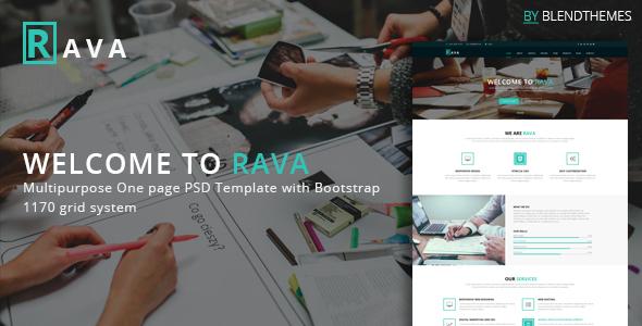 Rava - Creative One Page Multipurpose PSD Template