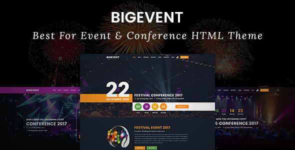 BigEvent – Occasion, Conference &amp Meetup HTML Template (Events)
