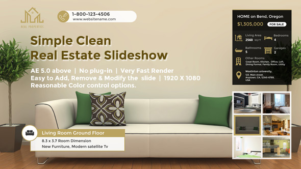 VideoHive Simple Clean Real Estate Slideshow 19613467