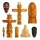 Set of Idols Flat Symbols Isolated on White