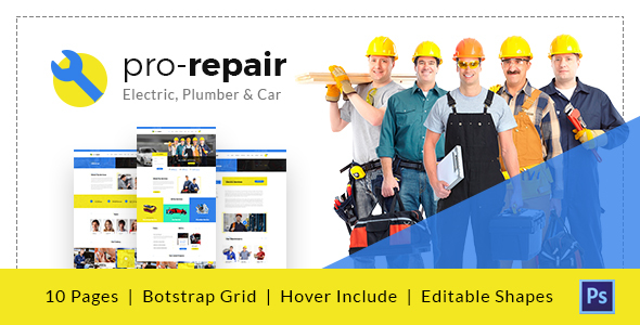 Pro Repair – Electric, Plumber and Automobile Service PSD Template (Enterprise)