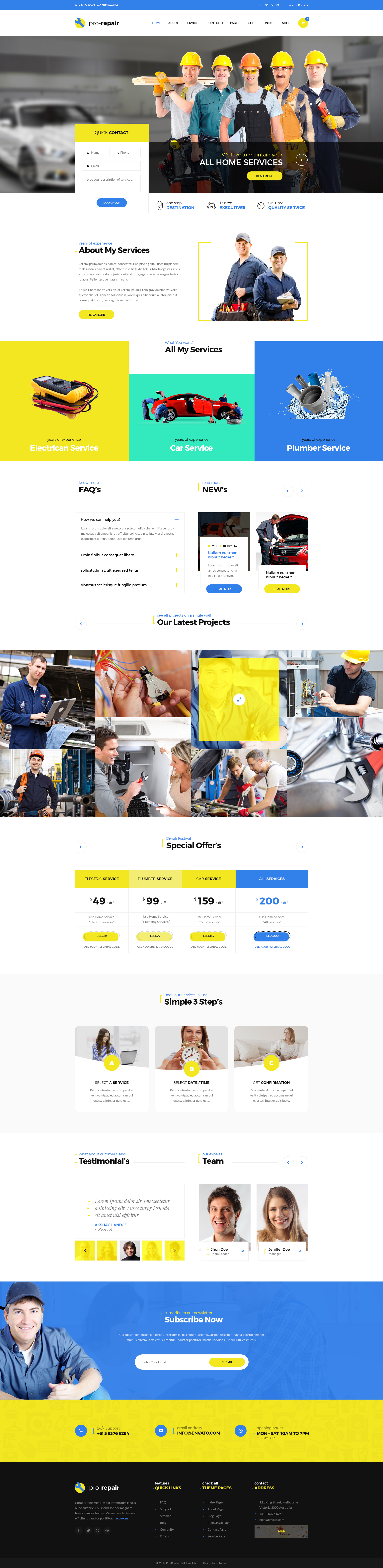 Pro Repair - Electric, Plumber and Car Service PSD Template