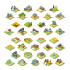 Isometric Building City Map Farm Icon Set Vector Illustration